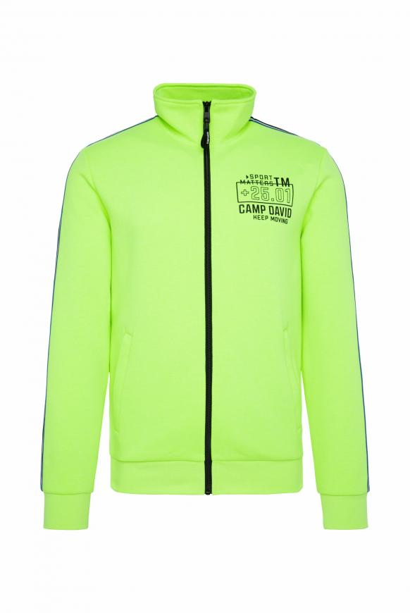 Trainingsjacke mit Tapes und Rücken-Artwork neon yellow