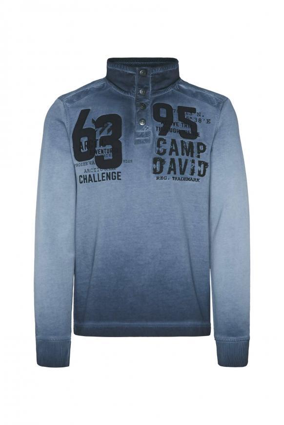 Troyer-Sweatshirt mit Strick-Patches und Artworks deep sea