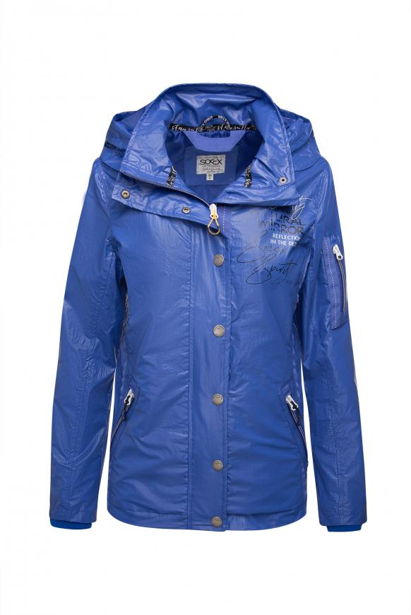 Windjacke mit Kapuze, Print und Coating illusion blue
