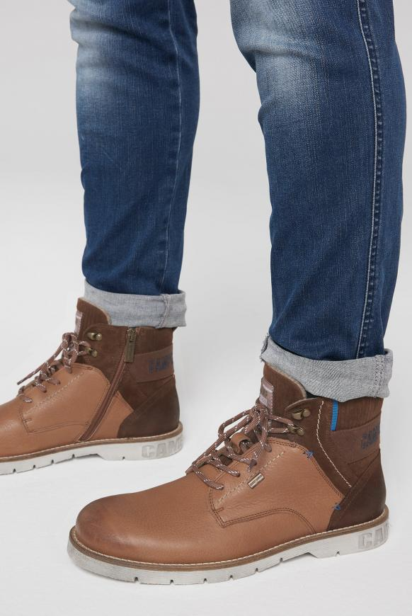 Worker-Boots aus Leder mit Logostick cognac