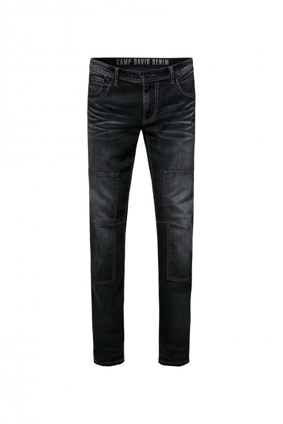 Worker Jeans WI:LL mit Moustache-Effekten und Patch dark grey used
