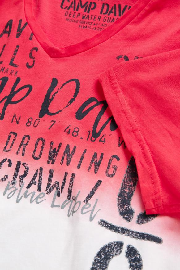 T-Shirt mit V-Neck und Farbverläufen