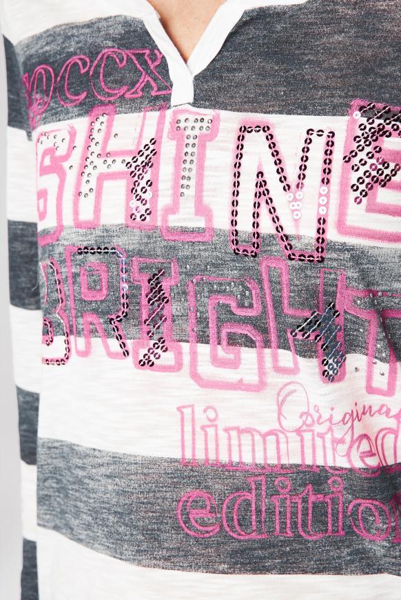 Gestreiftes Serafino-Shirt mit Artwork